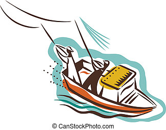 Two people on a boat catching fish
