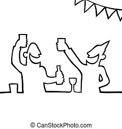Black line art illustration of two people partying with drinks.