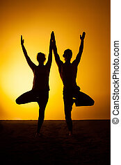 Two people practicing yoga in the sunset light