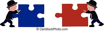 two people push puzzle pieces to make them fit together