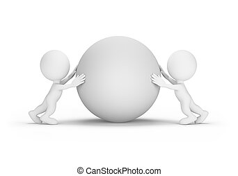 Two people push the orb