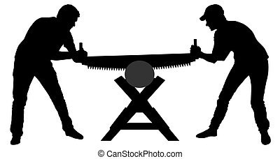 Two people sawing a log with a hand saw. Silhouette vector illustration