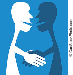 Two people shake hands. - A friendly handshake between two...