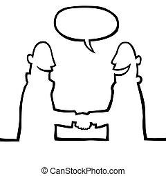 Two people shaking hands - Black line art illustration of...
