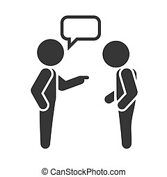 Two People Sign with Chat Buble on White Background.