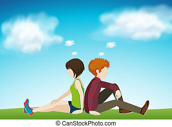 Two people sitting together illustration