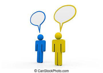 Two people talk in speech bubbles