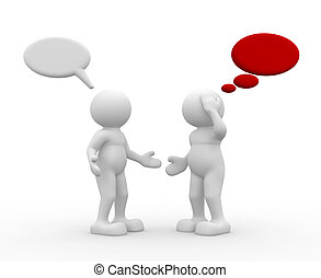 Two people talking - 3d people - human character - talking -...