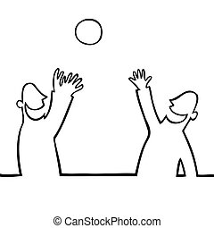 Two people throwing a ball at each other - Black line art...