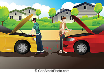 Two people trying to jump start a car - A vector...