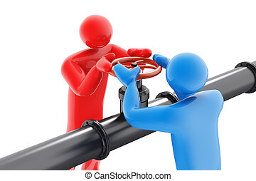 Two people twisting oil valve in opposite direction