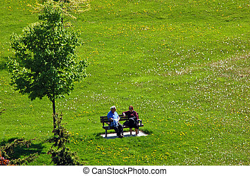 two people - two old people on the bench in park