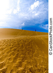 two people walking along the top of dune