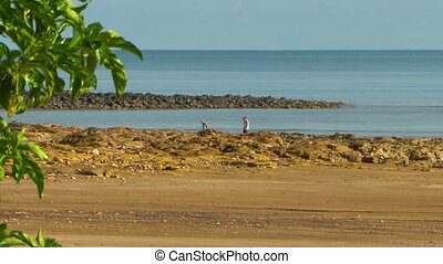 Two people walking on a rocky beach - Wide shot of a man and...