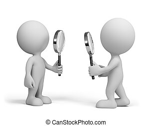 Two people with a magnifying glass - Two people looking at...