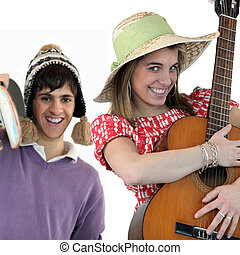 Two people with acoustic instruments