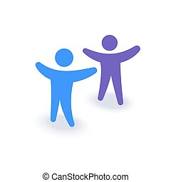 Two people with hands up. Logo or icon. Family symbol. Team company meeting