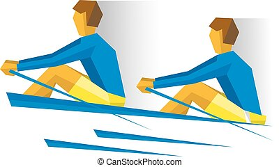 Two people with oars in the boat. Rowing competition - Two...