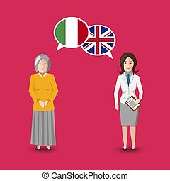 Two people with white speech bubbles with Great britain and Italy flags. Language study concept illustration