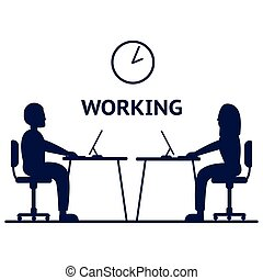 Vector silhouette of a people sitting at a computer on a white background. Icon vector illustration