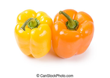 Two pepper isolated on white background