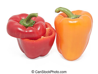 two peppers on a white background