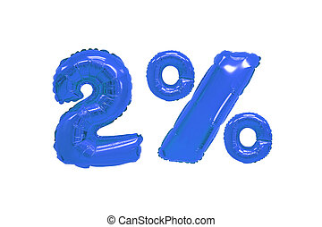 two percent from balloons dark blue color