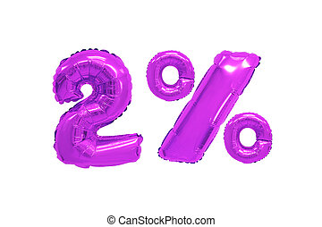 two percent from balloons purple color