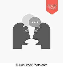 Two person chatting icon. Dispute concept. Flat design gray color symbol. Modern UI web navigation, sign.