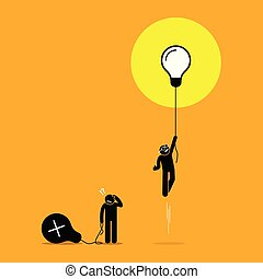 Two person created different ideas but only one is having success, while the other fails.