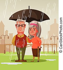 Two person man husband and woman wife old couple standing under rain holding umbrella. Romantic date concept vector cartoon illustration