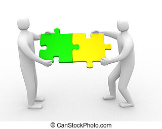 Two person matching puzzle pieces - 3d render illustration...