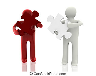 two person with puzzle figure