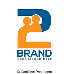 Two Persons Logo, Vector Illustration on white background