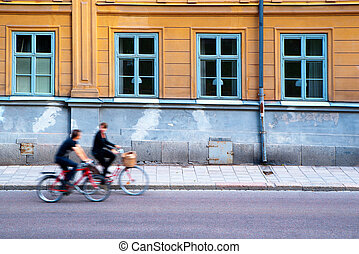 Two persons on bicycles - Two persons on bikes