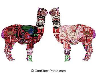 two Peruvian llamas - Alpaca with drawings in the Peruvian...