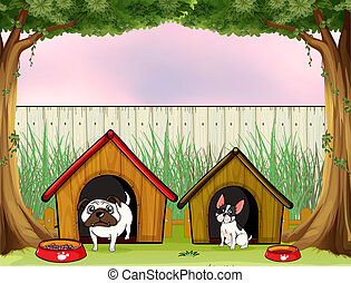 Two pets inside the fence with wooden houses - Illustration...