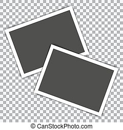 Two photo frame retro with shadow. Vector illustration
