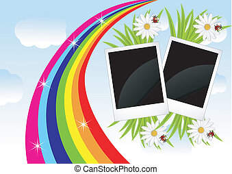two photos, flowers and rainbow