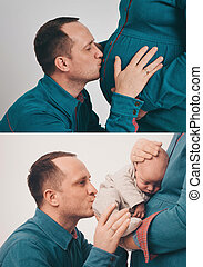 two photos in one: the husband kisses a pregnant wife, a man kisses a newborn child who lies in the hands of a woman. Family portrait: isolated photo Healthy childbirth-happy parents