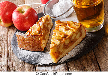 Two pieces of apple pie close-up and apple juice. horizontal
