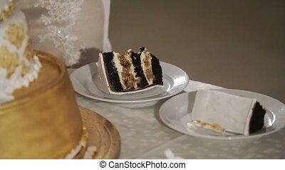 Two pieces of celebration cake