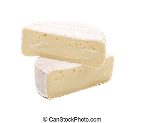Two pieces of cheese brie. Isolated on a white background.