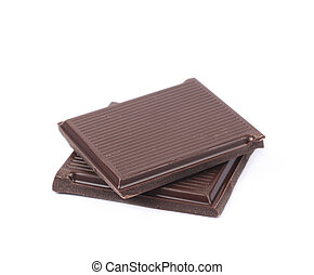 Two pieces of chocolate bars isolated