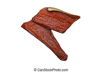 Two pieces of delicious smoked keta fish