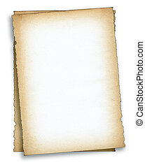 two pieces of old paper against white background, edges are...