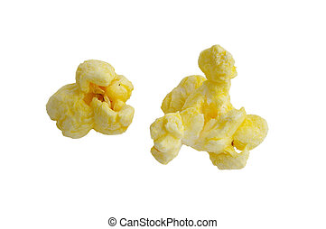 two pieces of popcorn closeup isolated on white