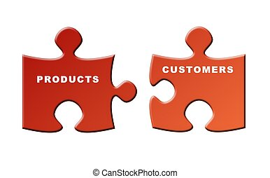 products and customers - two pieces of puzzle to illustrate ...