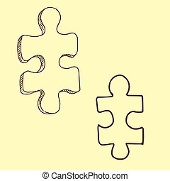 Two pieces of puzzle vector illustration