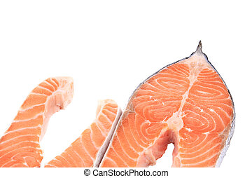 Two pieces of salmon. On a white background.